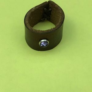 Jewelry - Brown Leather Ring Purple Stone